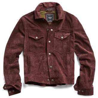 Todd Snyder Italian Suede Snap Front Dylan Jacket in Burgundy
