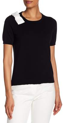 CeCe Bow Accented Short Sleeve Sweater