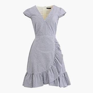 J.Crew Petite faux-wrap mini dress in gingham cotton poplin