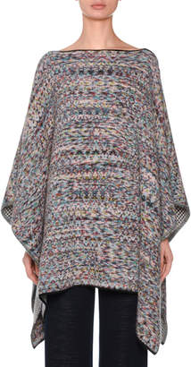 Missoni High-Neck Melange Knit Wool-Blend Poncho