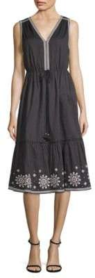 Kate Spade Mosaic Embroidered Cotton Midi Dress