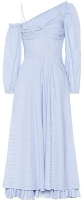 ALEXACHUNG One-shoulder striped dress