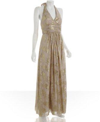 BCBGMAXAZRIA champagne metallic floral chiffon halter gown