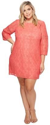 Adrianna Papell Plus Size Marni Lace 3/4 Sleeve Shift Dress Women's Dress