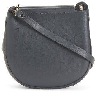 Made In Italy Small Leather Top Zip Crossbody