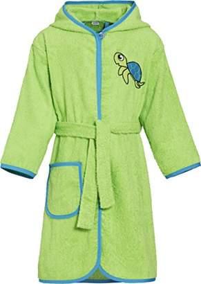 Playshoes Boy's Kinder Frottee-Bademantel Schildkröte mit Kapuze Bathrobe, Green (grün), (Manufacturer size: /128)