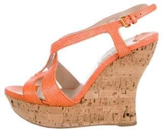 Miu Miu Embossed Wedge Sandals Orange Embossed Wedge Sandals