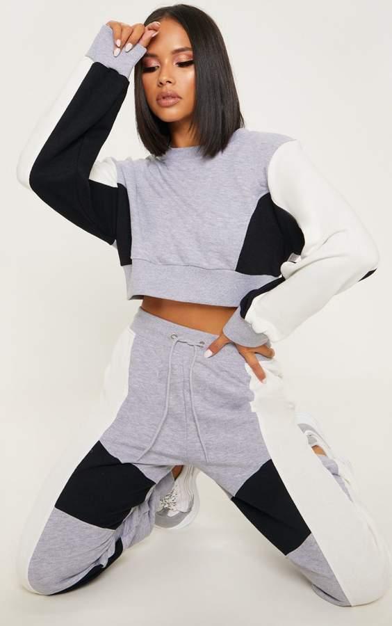 Grey Contrast Panel Crop Sweater