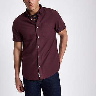 River Island Dark red casual short sleeve Oxford shirt