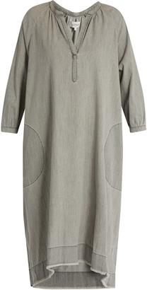 THE GREAT The Homestead frayed-hem denim dress $350 thestylecure.com