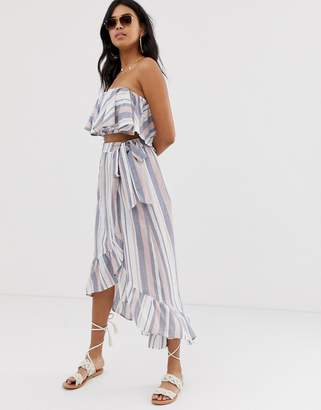 Asos Design DESIGN woven stripe frill beach sarong two-piece skirt