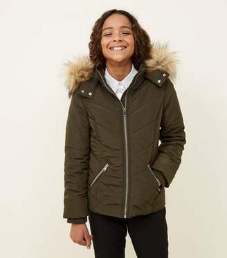 New Look Girls Khaki Faux Fur Trim Hooded Parka