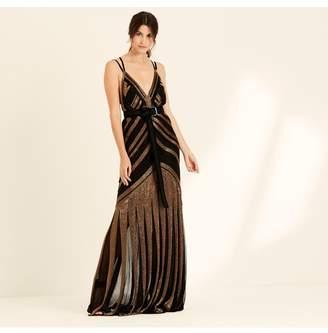 Amanda Wakeley Bronze Black Liquid Beading Long Dress