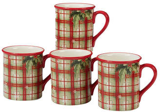 Certified International Holiday Wishes 4-Pc. Plaid Mug