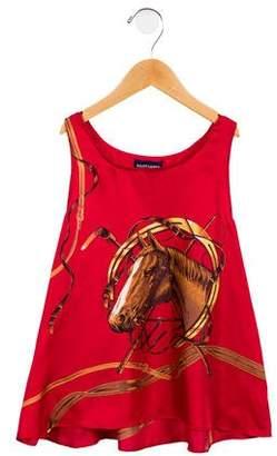 Ralph Lauren Girls' Silk Graphic Printed Top