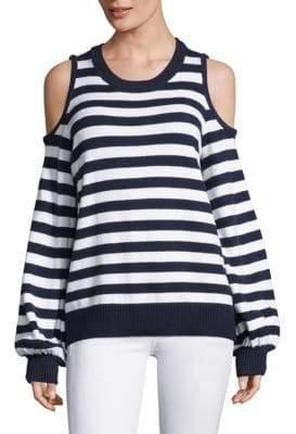 MICHAEL Michael Kors Stripe Cold-Shoulder Cotton Sweater