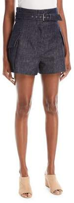 Derek Lam High-Waist Belted Denim Shorts with Patch Pockets
