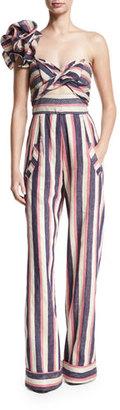 Johanna Ortiz Bahama Striped Floral-Shoulder Jumpsuit, Blue/Pink/White $2,150 thestylecure.com