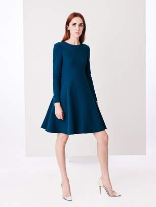 Oscar de la Renta Peacock Stretch-Wool Crepe Swing Dress