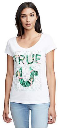 True Religion TROPICAL TRUE ROUNDED V NECK TEE