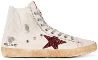 Golden Goose White Red Glitter Francy hi top sneakers