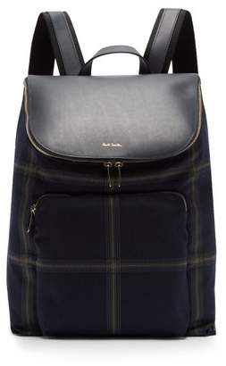Paul Smith Checked Wool Blend And Leather Backpack - Mens - Blue