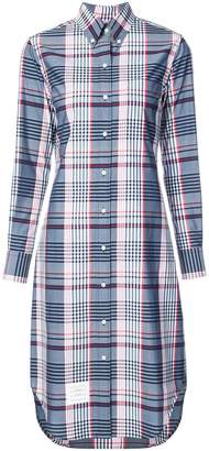 Thom Browne Classic Long Sleeve Button Down Point Collar Knee Length Shirtdreshort Sleeve In Large Madras Check Poplin