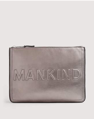 7 For All Mankind Large Mankind Clutch In Metal Pewter