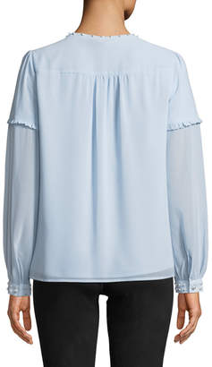 Karl Lagerfeld Paris Pearly Flowy Ruffle-Sleeve Blouse