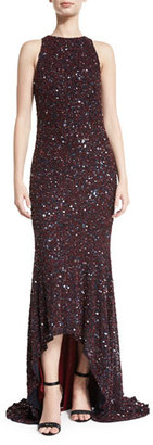 Theia Beaded High-Neck High-Low Gown, Burgundy/Navy $1,395 thestylecure.com