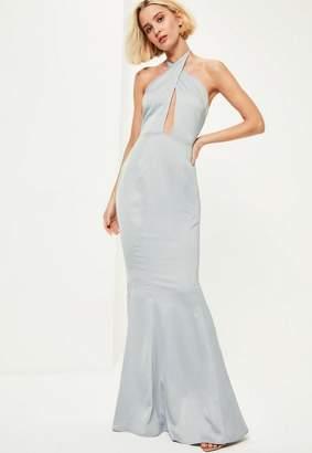 Missguided Blue Plunge Halterneck Fishtail Maxi Dress
