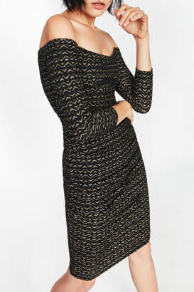Nicole Miller Gold Zig-Zag Dress