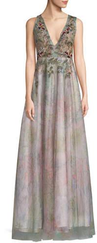 Patricia Bonaldi Floral Tulle V-Neck Gown