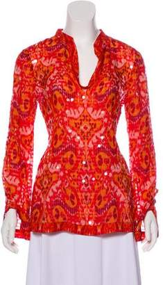 Tory Burch Sequin Long Sleeve Blouse
