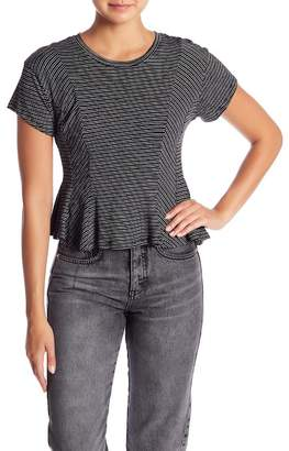 Lush Short Sleeve Stripe Peplum Tee