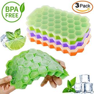 New Ice Cube Trays Silicone Easy Release 37 cubes — Flexible Ice Cube Maker with Stackable Removable Lid Mini Cocktail Whiskey Ice Cube Mold — BPA Free Green/Orange/Purple By KitchenHero (3 Pack)