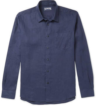 Vilebrequin Caroubis Linen Shirt - Men - Navy