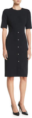 Jason Wu Crewneck Short-Sleeve Compact Crepe Day Dress