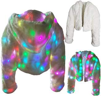 Ohlees® Led Light Up Christmas Party Women Girls Winter Long Fur Vest Coat (L, )
