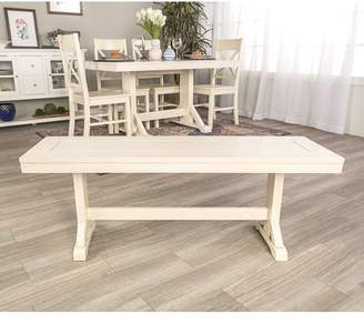 """Walker Edison 48"""" Wood Dining Bench - Antique White (Multiple Colors Available)"""
