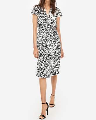 Express Leopard Tie Neck Midi Dress