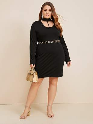 Shein Plus Solid Choker Neck Dress Without Belt