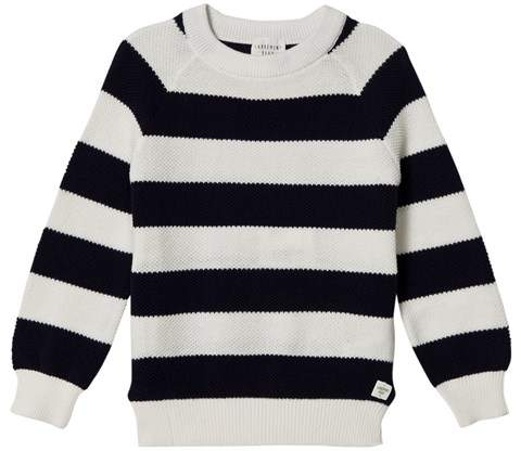 Carrément Beau Navy and White Stripe Jumper