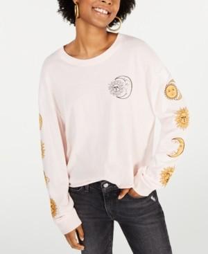 Rebellious One Juniors' Cotton Moon Graphic T-Shirt
