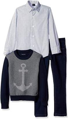 Nautica Little Boys Anchor Sweater, Long Sleeve Shirt, and Denim Pant Set
