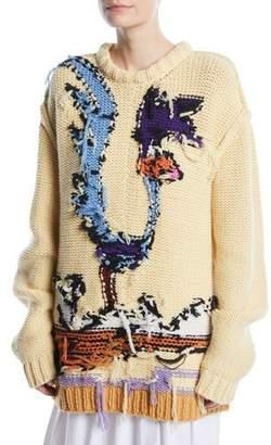 Calvin Klein Looney Tunes Road Runner Crewneck Inverted-Stitch Wool Sweater