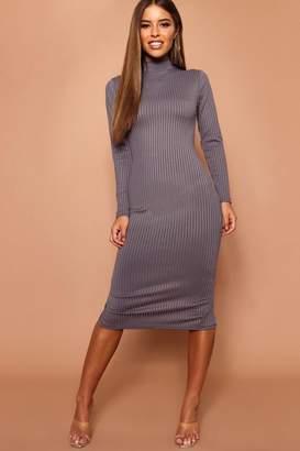 boohoo Petite High Neck Jumbo Rib Midi Dress