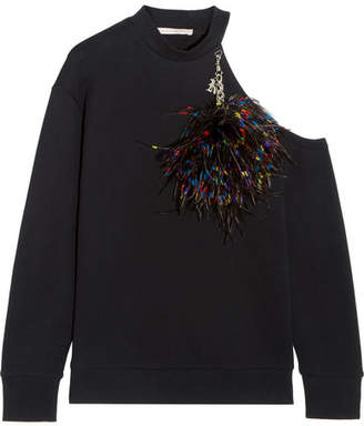Embellished Cold-shoulder Cotton-jersey Sweatshirt - Black