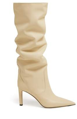Jimmy Choo Mavis 85 Knee High Leather Boots - Womens - Cream