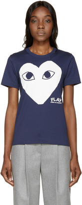 Comme des Garçons Play Navy Heart T-Shirt $120 thestylecure.com